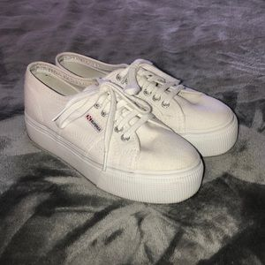 Platform white Superga's